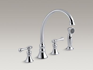 Revival 4 Hole Kitchen Sink Faucet With 9 3 16 Spout Matching Finish Sidespray And Scroll Lever Handles Ukdny
